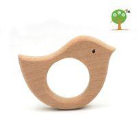 Wholesale Wood Elephant Toy - 10pcs x 70mm DIY Organic beech wood elephant and bird Ring teether nursing toy DIY handmade wooden teether EA50