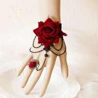 Satin black rose corsage - charming Red and Black Wrist Corsage Halloween Wear Flower and lace With finger Ring wedding Supplies speacial occasion wear Z412