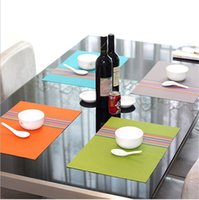 Atacado - 2pcs / lot estilo europeu de isolados de PVC lençóis Chromatic stripe table tapete Pad