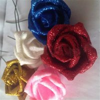 Hydrangea de seda Real Touch Flowers Decorações de casamento Rose Artificial Glitter Foam PE Artificial Flowers Rose Head Party Bola DIY Kissing