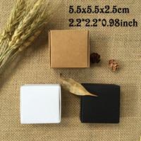 Wholesale Black White Favor Boxes - 50PCS 5.5*5.5*2.5cm White Wedding Favor Candy Box Black Brown Carton Kraft Paper Box Caixa Gift Packing Box Party Supplies