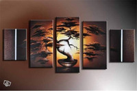 Wholesale Tree Art Big Canvas - Hand-painted big tree oil painting picture for sitting room decoration 5 pcs set canvas art on the wall friends gifts