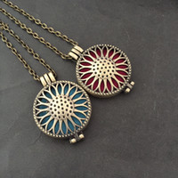 Wholesale Filigree Lockets - Wholesale Sunflower Locket Can Open Pierced Filigree Antique Bronze Essential Oil Aroma Diffuser Necklace with Colorful Pads (in stock)