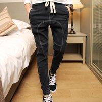 Wholesale Men S Business Pants - Wholesale-Jeans Men New 2016 Brand Fashion Leisure Mid Waist Joggers Denim Long Trousers Business Designer Casual Harm Pant S-3XL Hot Sale