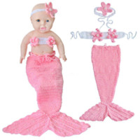 Wholesale Photo Nurses - NEW 3pcs Set Newborn Baby Mermaid Knit Costume Crochet Outfit Photography Photo Prop Pink#326#XX costume student costume nurse