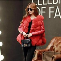 Wholesale Short Leather Jackets For Ladies - 2017 winter high fashion women's luxurious faux fur coat Socialite thick warm leather jacket parkas Top quality for lady