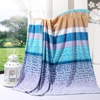 Wholesale Stripe Coral Fleece Blanket - Panic buying Blue Dot and stripes 100% Polyester Europe Portable Summer Multi flannel sheets blankets wholesale