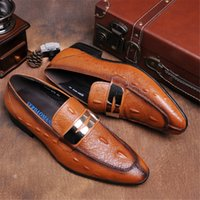 Moda Brown / Preto Verão Loafers Mens Vestido Oxford Sapatos De Couro Genuine Causal Business Sapatos Breathable Mens Wedding Shoes