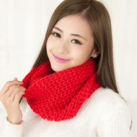 Wholesale Korean Scarves Wholesale - New Korean style female student couples head of winter red scarf knitted wool scarf female thickening Size 100cm*135cm Tb6