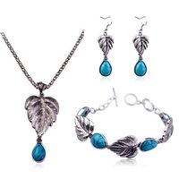 Wholesale Charms Whosale - Whosale New Cheap Turquoise Pendant Necklace Earrings Bracelet Sets for Women Girl 55cm Fahion Jewelry Drop Shipping