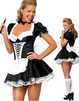 Wholesale Short Sleeve Fancy Dresses - Wholesale-Servant Women Cosplay Free Shipping Black And White Party Halloween Fancy Dress ML5034 Short Sleeve Sexy French Maid Costumes