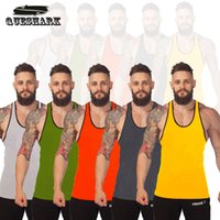 Wholesale Thin White Tank Tops Wholesale - Wholesale-Queshark Thin Straps Professional Sports Vest Bodybuilding Fitness Training Cotton Golds Gym Men Tank Tops Undershirt Top