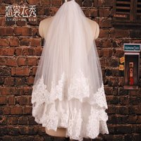 Wholesale Eyelash Lace Veil - The new bride wedding veil Korean retro luxury car bone wide lace veil eyelashes