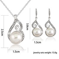 Wholesale Rhinestone pearl pendant Chain CZ Crystal Earrings And Necklace Fashion wedding dress Jewelry Sets For Women