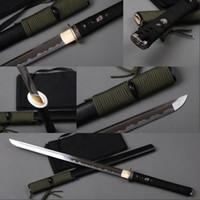 ninja dekorationen großhandel-Voll handgefertigte Ninja Samurai-Schwert 1060 Kohlenstoffstahl gerade Klinge japanische Messer aus Tang-Messer