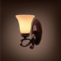 Retro Europe Aisle / Reading Wall Lamp Verre Lampshade Bed Room Wall Light E27 Creative Iron Player Design Home Bar Decor