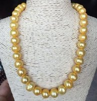 Wholesale Baroque South Sea - Hot baroque 10-11mm natural south seas gold pearl necklace 18inch 14k gold clasp