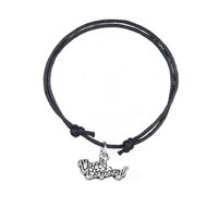 Wholesale Happy Birthday Bracelet - New Fashion Accessories Twist Bracelet Joint Antique Silver Plated Letter Happy Birthday Charm Adjustable Wax Cord Bracelet For Gift Jewelry