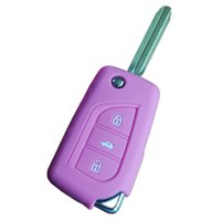 Wholesale Toyota Accessories Free Shipping - Car Accessories Car Key Case Key Bag 3 Button Car Key Cover For Toyota XYSM-054 Silicone Key Protect Case 30pcs Free Shipping