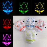 Wholesale masks movies for sale - Group buy New Led Halloween Ghost Masks The Purge Movie EL Wire Glowing Mask Masquerade Full Face Masks Halloween Costumes Party Gift WX9