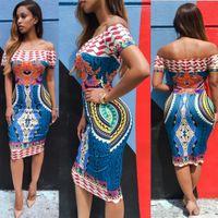Wholesale Amazing Dress S - 2016 Summer Women Traditional African Print Sexy Short Sleeve Off Shoulder Dashiki Bodycon Dress Jun 9 Amazing