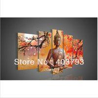 Wholesale Handmade Buddha Panel - 5 Panel Wall Art Religion Buddha Oil Painting On Canvas Modern Decorative Handmade Oil Paintings Christmas Gift