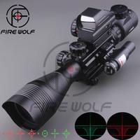 ingrosso fucili laser-2017 NUOVO 4-12X50EG Mirino tattico con mirino olografico a 4 reticoli Mirino laser rosso Combo Airsoft Sight Hunting
