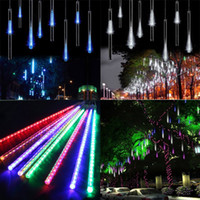 Barato Luzes De Natal De Corda 12v-20cm 30cm 50CM Meteor Shower Rain Tubes LED Mini Meteor Lights LED Strings Light 8pcs LED Light Christmas Light Decoração de jardim de casamento
