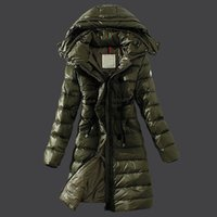 Wholesale Cashmere Wool Winter Jackets Women - Army green long down parka Winter jacket women waist belt winter Outdoor warm coat Long sleeve Ladies Anorak
