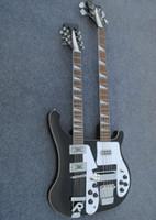 guitarra elétrica preta de 12 cordas venda por atacado-Frete grátis Pessoal Tailor preto Double Neck guitarra Elétrica 124 cordas de baixo Rosewood Fingerboard Pode enviar fotos personalização