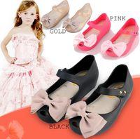 Wholesale Wholesale Soft Slide - 13-18cm 2016 Summer Girls Mini Melissa Shoes Bow Princess Jelly kids Sandals Clogs Children Beach Shoes Cute Cat Girl Sandals Sapato Menina