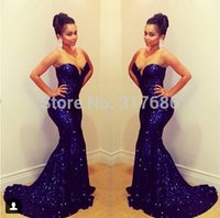 Wholesale Spring Bridesmaid Dresses Free Shipping - Free Shipping Sparkling Sweetheart Off Shoulder Sleeveless Mermaid Long Royal Blue Sequined Prom Dresses 2016 Short Trailing
