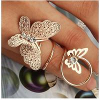 bijouterie moda venda por atacado-Anéis de noivado Atacado Limpar Liga de Strass Borboleta Elegante Anéis Exagerados Para As Mulheres Moda Lindamente Aneis Anéis Bijuteria