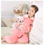 Wholesale Cotton Coral Dress - hjl11.8Autumn Winter Extra Thick Flannelette Children Pajama Baby Girl Coral Velvet Home Dress Suit Big