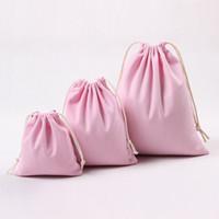 rosa baumwolltasche großhandel-Rosa Canvas Drawstring Taschen 100% Baumwolle Aufbewahrungsbeutel Wäsche Favor Halter Modeschmuck Beutel Geschenktüten Rosa Farbe mit S / M / L Größen