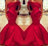 vestido de cetim árabe venda por atacado-2016 Novo Design de Noite Vestidos de Sereia Querida Ruffles Cetim Vermelho Árabe Vestido de Festa Do Baile Vermelho Vestidos Baratos Feito Sob Encomenda