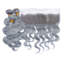 Wholesale 9A Peruvian Silver Grey Human Hair Bundles With Lace Frontal x4 Body Wave Pure Grey Color Virgin Peruvian Hair With Frontals