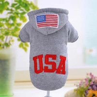 Wholesale Large Easter Flags - USA Flag Fashion Pet Apparel Dog Clothes Small Dogs Coat with Hooded Gray Red Black Pet Sportwear Sweatercoat in Autumn Winter