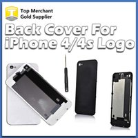 Wholesale Iphone 4s Back Cover Replacement - Back Glass Battery Housing Door Cover Replacement Part GSM for iphone 4 4S Black White Color A quality