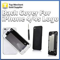 couverture iphone 4s blanc pomme achat en gros de-Partie arrière en verre de logement de batterie partie de remplacement GSM pour iphone 4 4S noir blanc couleur une qualité