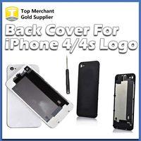 iphone 4s rückseitige abdeckung gehäuse großhandel-Zurück Glas Batterie Gehäuse Türabdeckung Ersatzteil GSM für iphone 4 4S Schwarz Weiß Farbe Eine Qualität