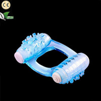 Wholesale Double Sex Toy Penis Dual - Crystal Clit Dual Vibrating Cock Ring Stretchy Delay Penis Rings Double Vibrator Great Novelty Sex Toy for Men Adult Product