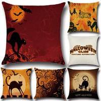 Wholesale Horror Cases - Horror Pattern Halloween Thriller Cat Pillow Cases Halloween Costume Superstore Linen Cushion Cover Home Decorative Pillow Case Gift YLCM
