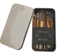 Wholesale Eyeliner Case - N5 Makeup Brushes Metal Kit with Case N 5 Makeup Cosmetic Brushes Set Powder Foundation Eyeshadow Lip Eyeliner Brush N5 Make Up Tools