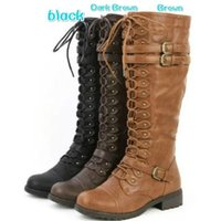 Wholesale Gingham Buttons - Women Boots Lady Hot Solid Button Knee Boots