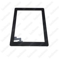 adhésif pour numériseur achat en gros de-50pcs panneau de verre à écran tactile avec numériseur pour ipad 2 3 4 avec bouton de la maison et assemblée adhésive livraison gratuite