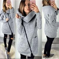 frauen pullover jacken großhandel-2017 heiße Frauen Herbst Winter Warme Lange Strickjacke Jacken Damenmode Seitlichem Reißverschluss Gestrickte Oberbekleidung Mantel Plus Größe 5XL