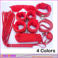 Bdsm Seilmanschette Kaufen -Sex 7-in-1 BDSM Gear Sex Bondage Restraint Kit PU Leder Sklave Handgelenk Ankle Cuffs Kragen Peitsche Seil Augenbinde Mund Ball Gag Toys
