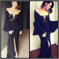 pagoda lighting - Designer Pagoda Sleeve Black Long Evening Dresses Sexy Appliques Lace Straight Party Dress Cheap Leg Split Evening Dress