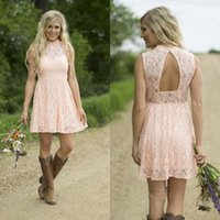Wholesale Dress Short Sequins Open Back - Country Bridesmaid Dresses 2016 Blush Pink Short Lace Bridesmaids Gown Illusion High Neck Beads Sequins Open Back Dress for Weddings